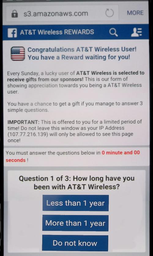 Fake AT&T Wireless REWARDS Pop Up Ad